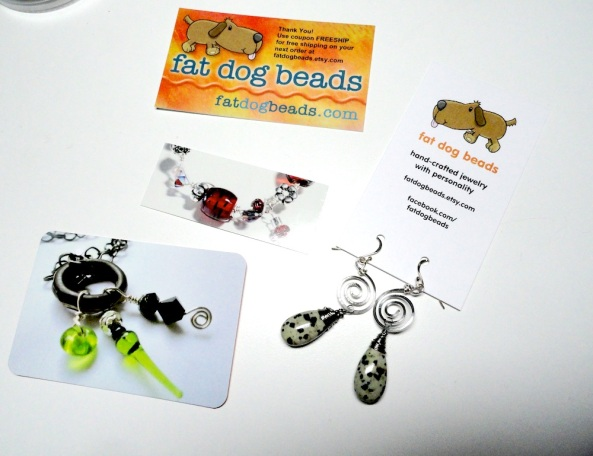 Some of the different business cards I use for fat dog beads