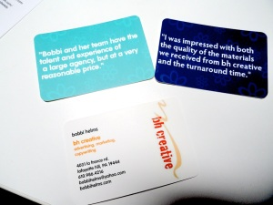 Some of the moo.com cards I use for bh creative