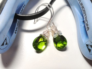 Dazzling lime green quartz earrings